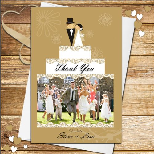 10 Personalised Wedding Cake Thank you PHOTO cards N179